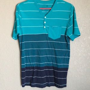 Teal/ Blue striped v neck